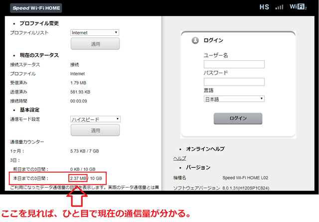 WiMAX通信量の累計が分かる、「Speed wi-fi Home」画面.png